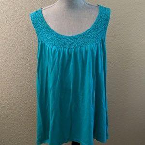 Teal tank top with texture. Size XL